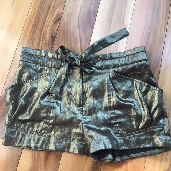 BCBGMaxAzria Pants - BCBGMaxAzria Gold Lame Shorts